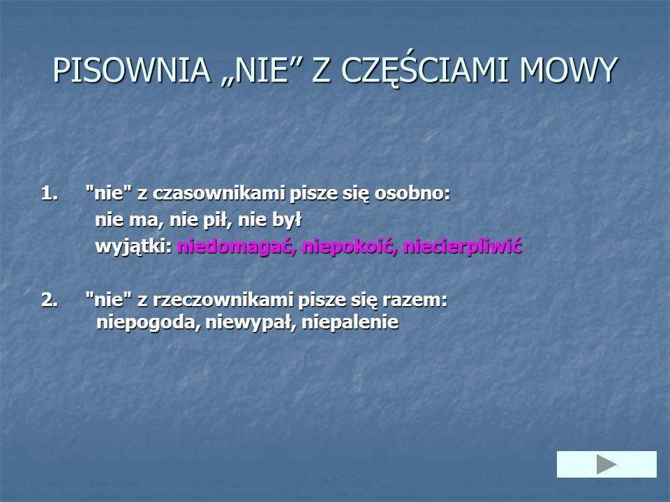 """PISOWNIA """"NIE"""" Z CZĘŚCIAMI MOWY 1."""