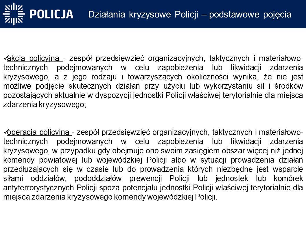 Działania kryzysowe Policji – podstawowe pojęcia akcja policyjna - zespół przedsięwzięć organizacyjnych, taktycznych i materiałowo- technicznych podejmowanych w celu zapobieżenia lub likwidacji zdarzenia kryzysowego, a z jego rodzaju i towarzyszących okoliczności wynika, że nie jest możliwe podjęcie skutecznych działań przy użyciu lub wykorzystaniu sił i środków pozostających aktualnie w dyspozycji jednostki Policji właściwej terytorialnie dla miejsca zdarzenia kryzysowego; operacja policyjna - zespół przedsięwzięć organizacyjnych, taktycznych i materiałowo- technicznych podejmowanych w celu zapobieżenia lub likwidacji zdarzenia kryzysowego, w przypadku gdy obejmuje ono swoim zasięgiem obszar więcej niż jednej komendy powiatowej lub wojewódzkiej Policji albo w sytuacji prowadzenia działań przedłużających się w czasie lub do prowadzenia których niezbędne jest wsparcie siłami oddziałów, pododdziałów prewencji Policji lub jednostek lub komórek antyterrorystycznych Policji spoza potencjału jednostki Policji właściwej terytorialnie dla miejsca zdarzenia kryzysowego komendy wojewódzkiej Policji.