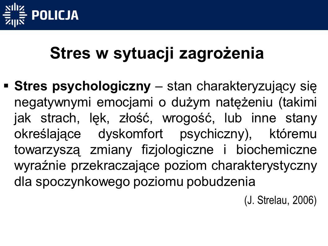 Stres w sytuacji zagrożenia  Stres psychologiczny – stan charakteryzujący się negatywnymi emocjami o dużym natężeniu (takimi jak strach, lęk, złość, wrogość, lub inne stany określające dyskomfort psychiczny), któremu towarzyszą zmiany fizjologiczne i biochemiczne wyraźnie przekraczające poziom charakterystyczny dla spoczynkowego poziomu pobudzenia (J.