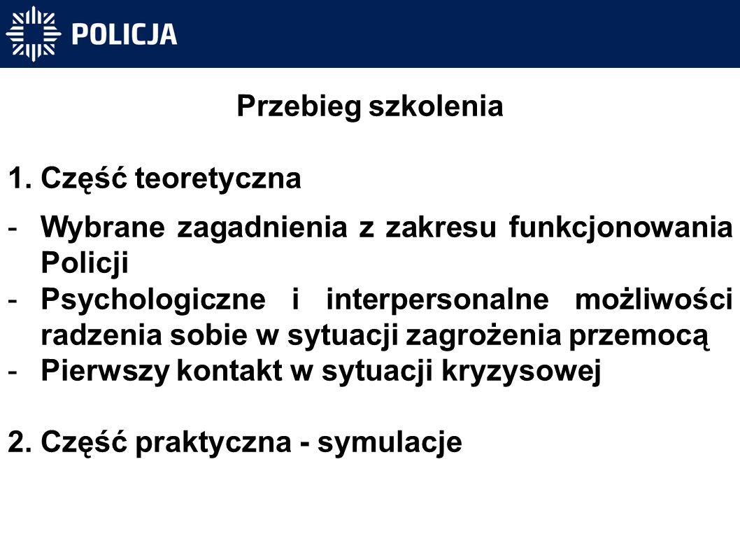 Przebieg szkolenia 1.Część teoretyczna -Wybrane zagadnienia z zakresu funkcjonowania Policji -Psychologiczne i interpersonalne możliwości radzenia sobie w sytuacji zagrożenia przemocą -Pierwszy kontakt w sytuacji kryzysowej 2.