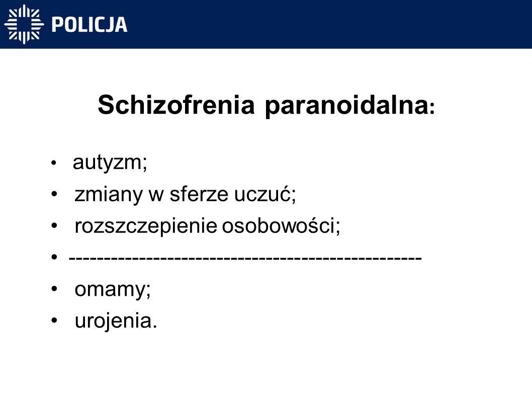 Schizofrenia paranoidalna : autyzm; zmiany w sferze uczuć; rozszczepienie osobowości; -------------------------------------------------- omamy; urojenia.