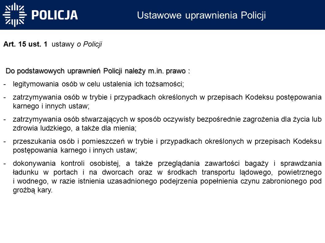 Ustawowe uprawnienia Policji Art. 15 ust.