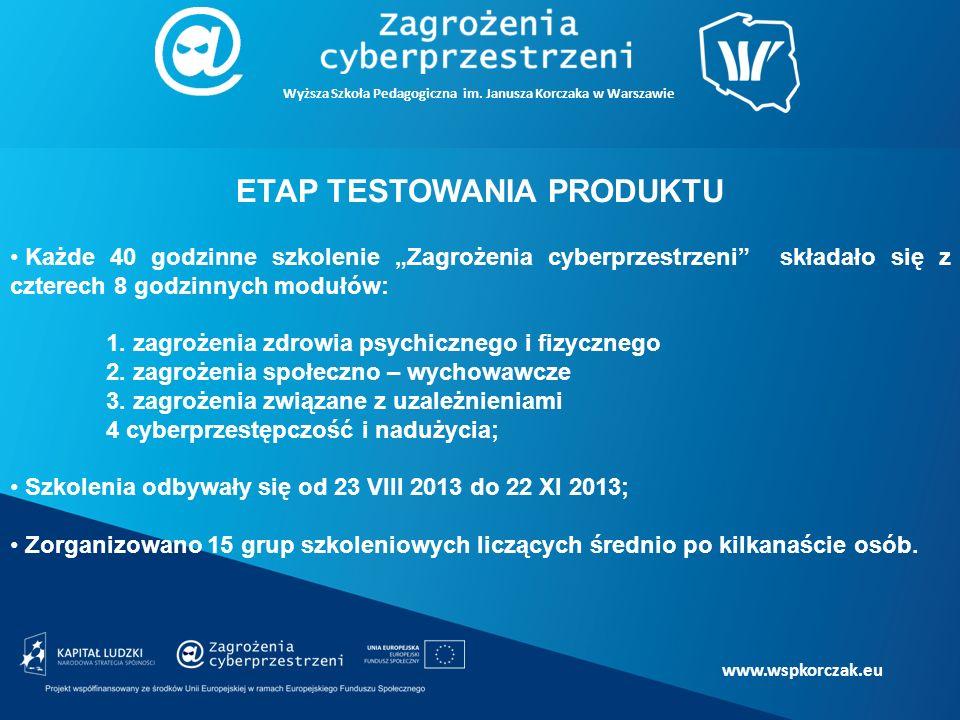 """www.wspkorczak.eu ETAP TESTOWANIA PRODUKTU Każde 40 godzinne szkolenie """"Zagrożenia cyberprzestrzeni składało się z czterech 8 godzinnych modułów: 1."""