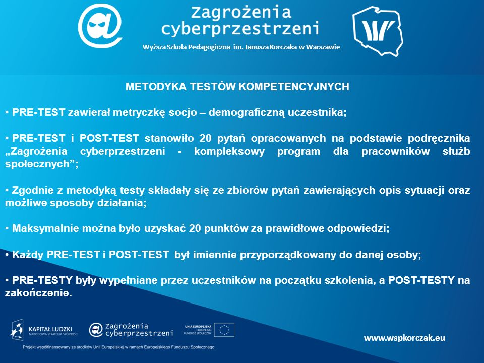 """www.wspkorczak.eu METODYKA TESTÓW KOMPETENCYJNYCH PRE-TEST zawierał metryczkę socjo – demograficzną uczestnika; PRE-TEST i POST-TEST stanowiło 20 pytań opracowanych na podstawie podręcznika """"Zagrożenia cyberprzestrzeni - kompleksowy program dla pracowników służb społecznych ; Zgodnie z metodyką testy składały się ze zbiorów pytań zawierających opis sytuacji oraz możliwe sposoby działania; Maksymalnie można było uzyskać 20 punktów za prawidłowe odpowiedzi; Każdy PRE-TEST i POST-TEST był imiennie przyporządkowany do danej osoby; PRE-TESTY były wypełniane przez uczestników na początku szkolenia, a POST-TESTY na zakończenie."""