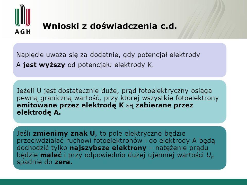 Wnioski z doświadczenia c.d. Napięcie uważa się za dodatnie, gdy potencjał elektrody A jest wyższy od potencjału elektrody K. Jeżeli U jest dostateczn