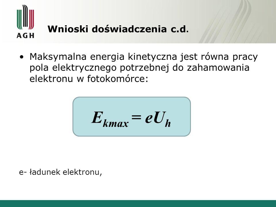 Wnioski doświadczenia c.d. Maksymalna energia kinetyczna jest równa pracy pola elektrycznego potrzebnej do zahamowania elektronu w fotokomórce: e- ład