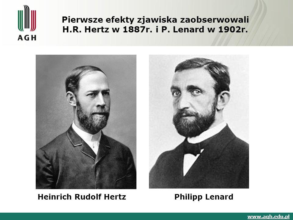 Pierwsze efekty zjawiska zaobserwowali H.R. Hertz w 1887r. i P. Lenard w 1902r. www.agh.edu.pl Heinrich Rudolf HertzPhilipp Lenard