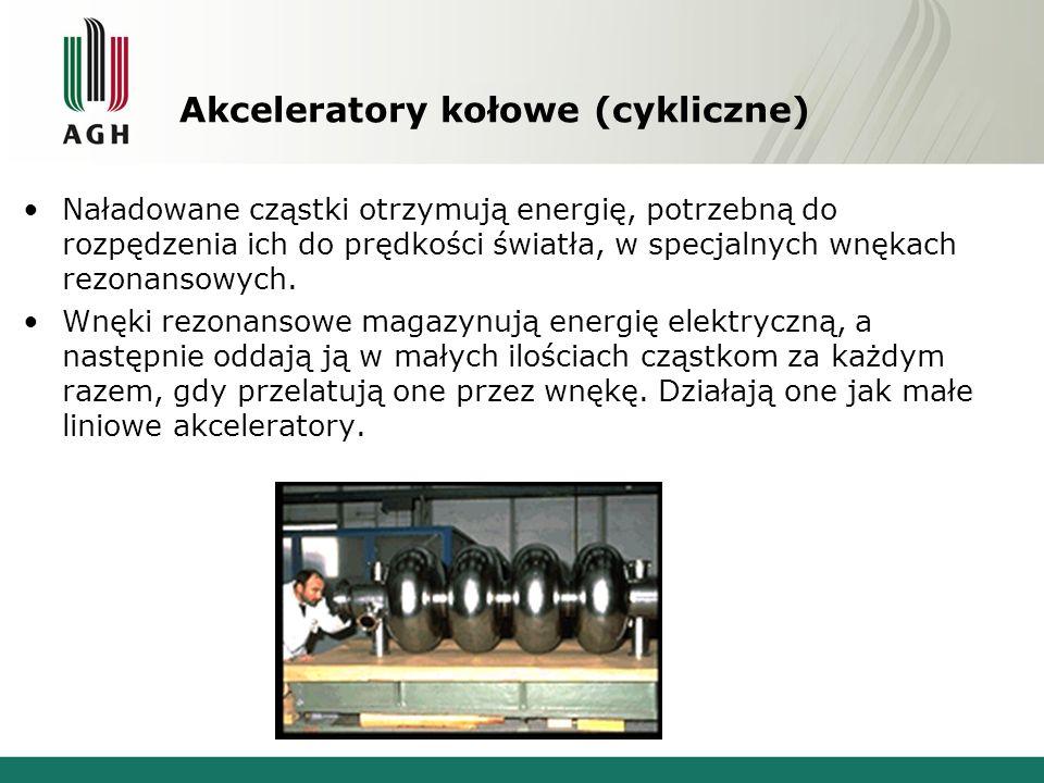 Akceleratory kołowe (cykliczne) Naładowane cząstki otrzymują energię, potrzebną do rozpędzenia ich do prędkości światła, w specjalnych wnękach rezonan