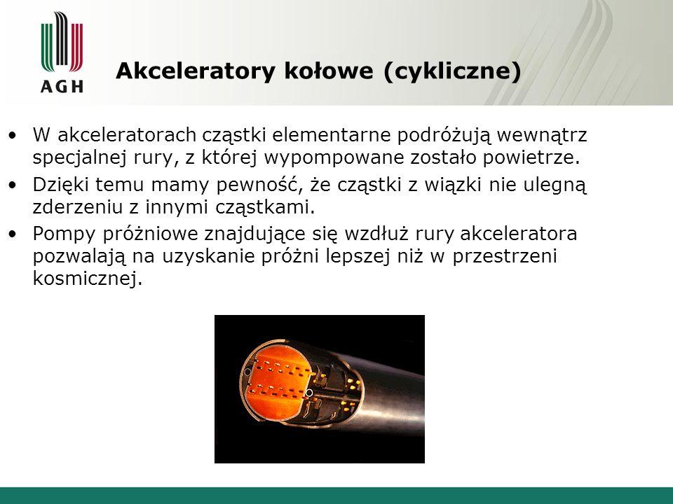 Akceleratory kołowe (cykliczne) W akceleratorach cząstki elementarne podróżują wewnątrz specjalnej rury, z której wypompowane zostało powietrze. Dzięk