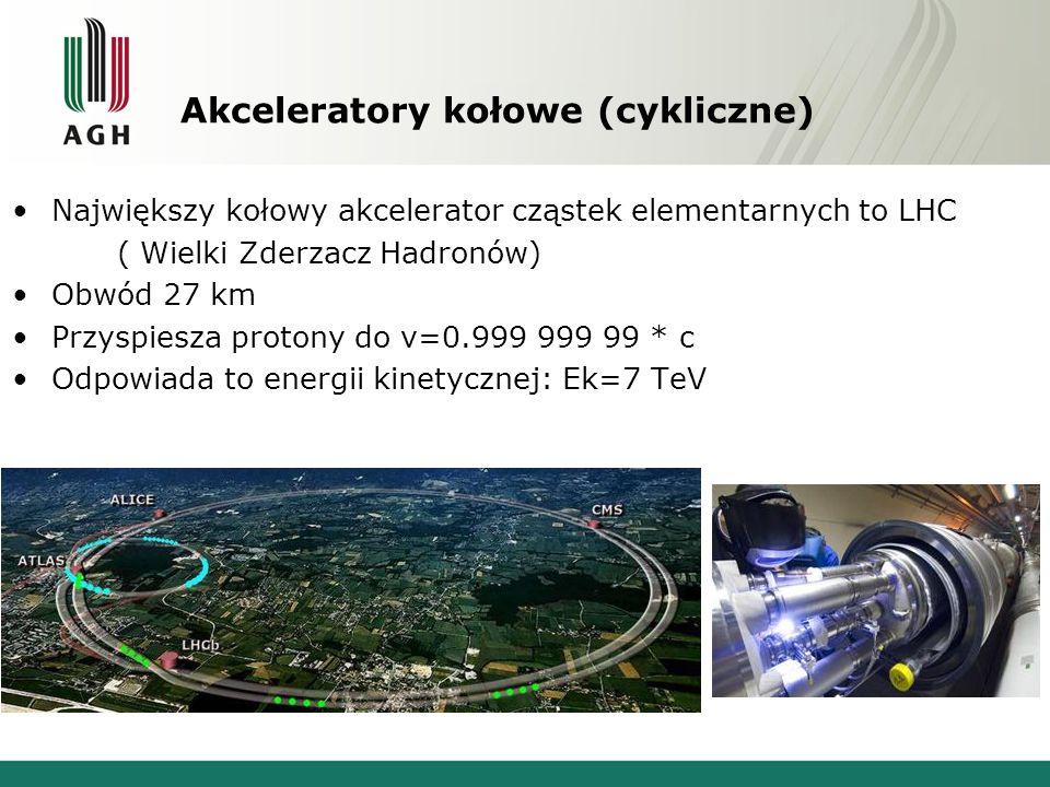 Akceleratory kołowe (cykliczne) Największy kołowy akcelerator cząstek elementarnych to LHC ( Wielki Zderzacz Hadronów) Obwód 27 km Przyspiesza protony