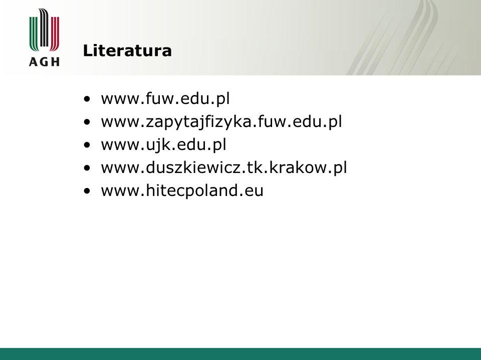 Literatura www.fuw.edu.pl www.zapytajfizyka.fuw.edu.pl www.ujk.edu.pl www.duszkiewicz.tk.krakow.pl www.hitecpoland.eu