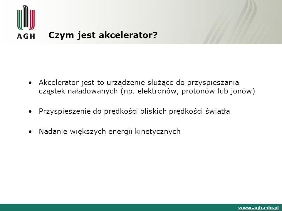 Czym jest akcelerator? Akcelerator jest to urządzenie służące do przyspieszania cząstek naładowanych (np. elektronów, protonów lub jonów) Przyspieszen