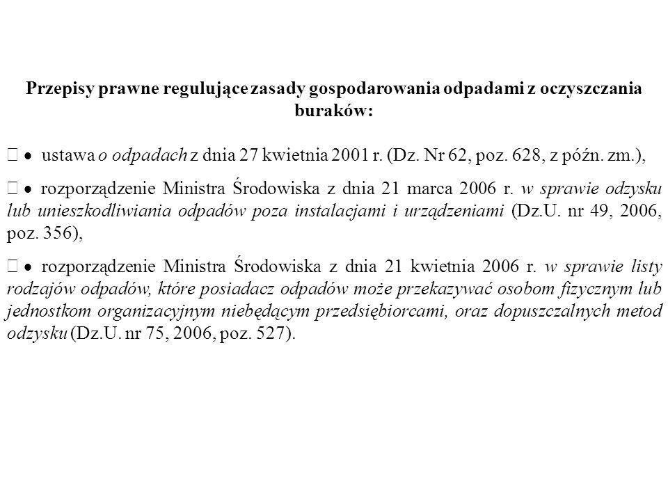 Przepisy prawne regulujące zasady gospodarowania odpadami z oczyszczania buraków:  ustawa o odpadach z dnia 27 kwietnia 2001 r.