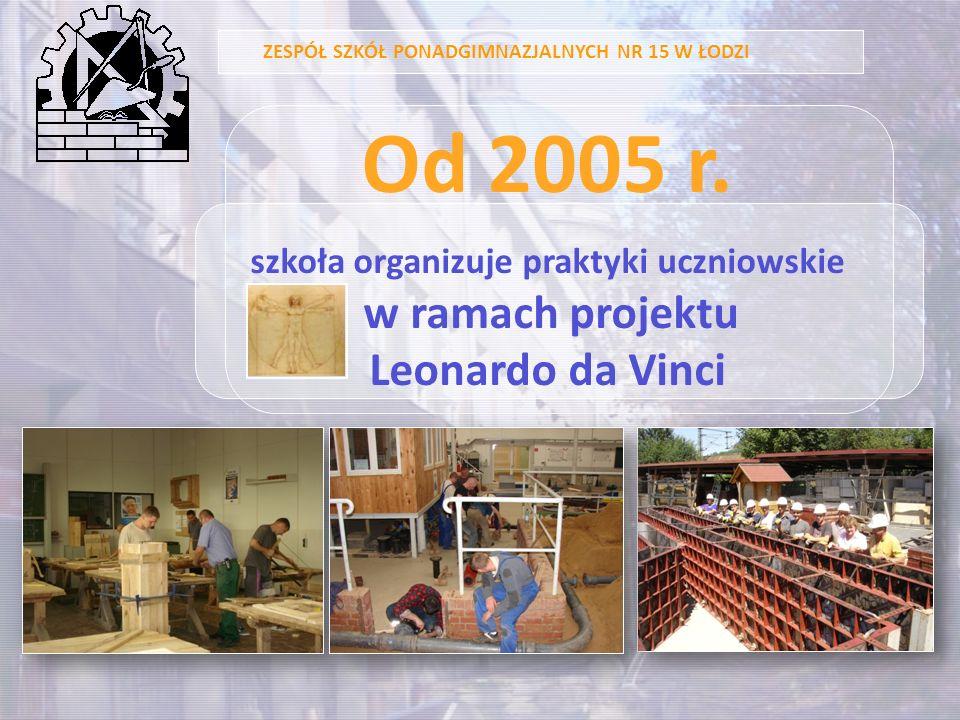 ZESPÓŁ SZKÓŁ PONADGIMNAZJALNYCH NR 15 W ŁODZI Od 2005 r. szkoła organizuje praktyki uczniowskie w ramach projektu Leonardo da Vinci