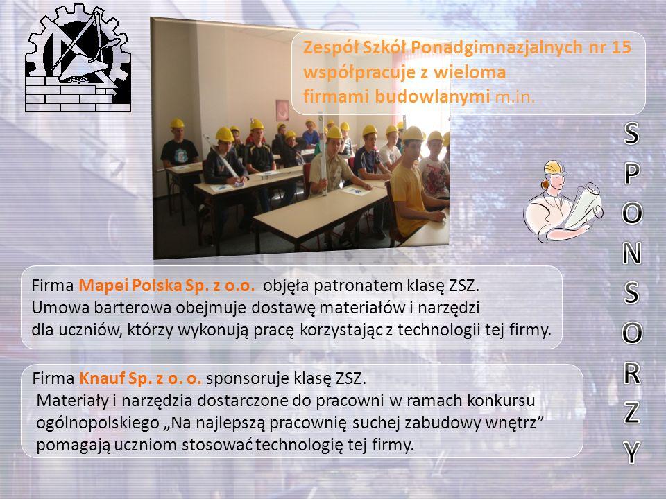 """Firma Knauf Sp. z o. o. sponsoruje klasę ZSZ. Materiały i narzędzia dostarczone do pracowni w ramach konkursu ogólnopolskiego """"Na najlepszą pracownię"""