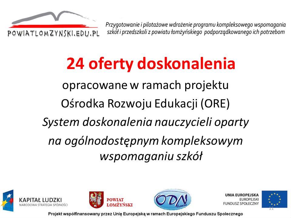 24 oferty doskonalenia opracowane w ramach projektu Ośrodka Rozwoju Edukacji (ORE) System doskonalenia nauczycieli oparty na ogólnodostępnym kompleksowym wspomaganiu szkół 11