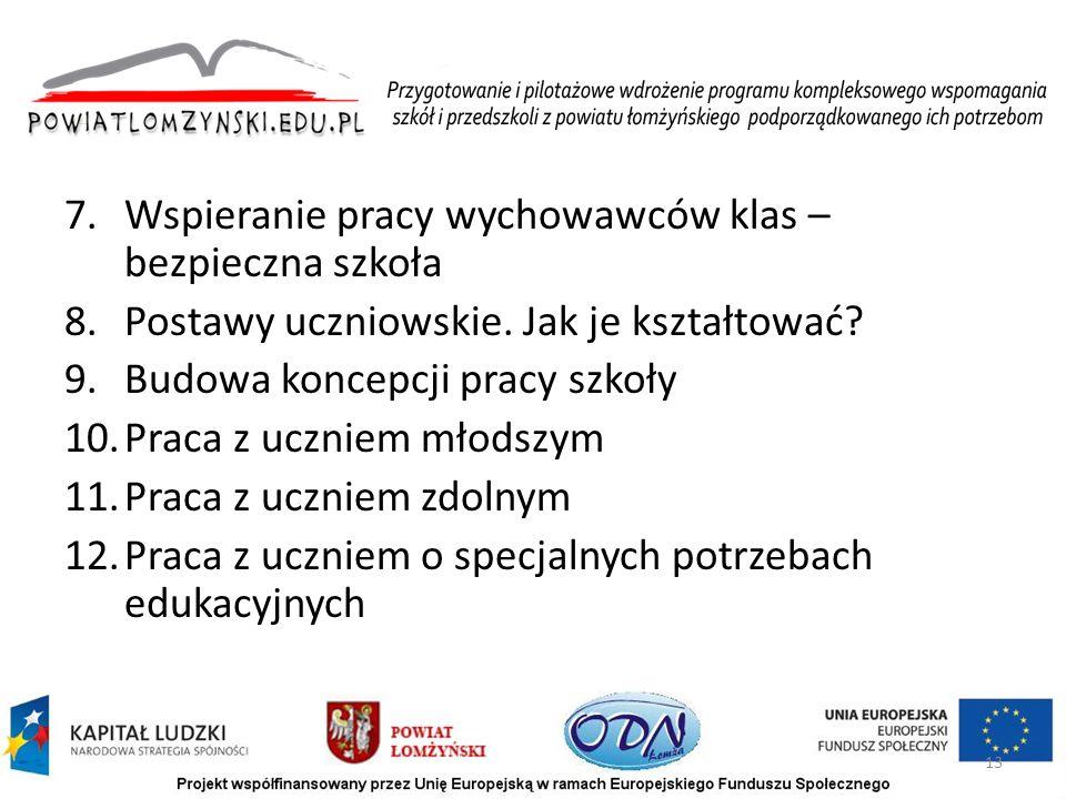 7.Wspieranie pracy wychowawców klas – bezpieczna szkoła 8.Postawy uczniowskie.