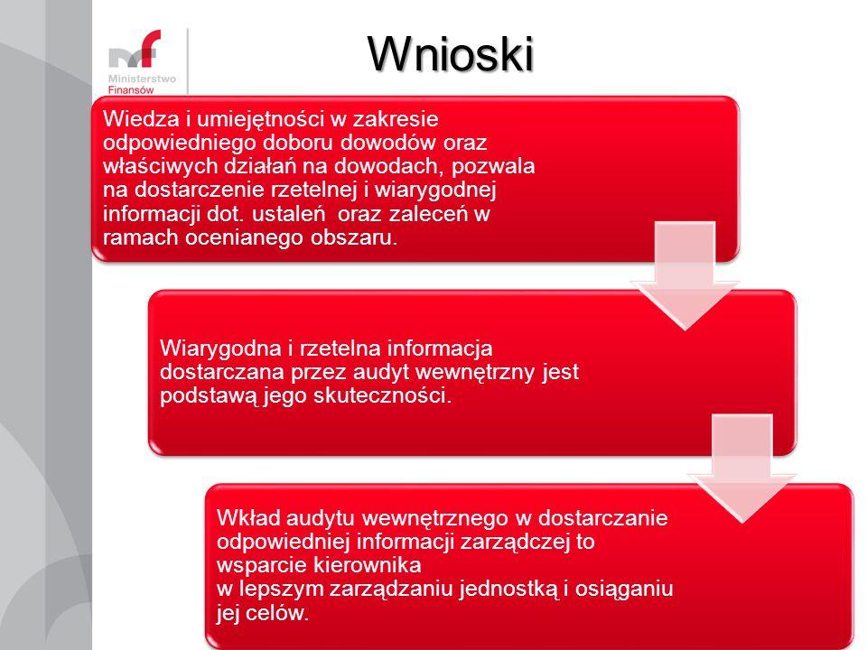 Wnioski 7 Wiedza i umiejętności w zakresie odpowiedniego doboru dowodów oraz właściwych działań na dowodach, pozwala na dostarczenie rzetelnej i wiarygodnej informacji dot.