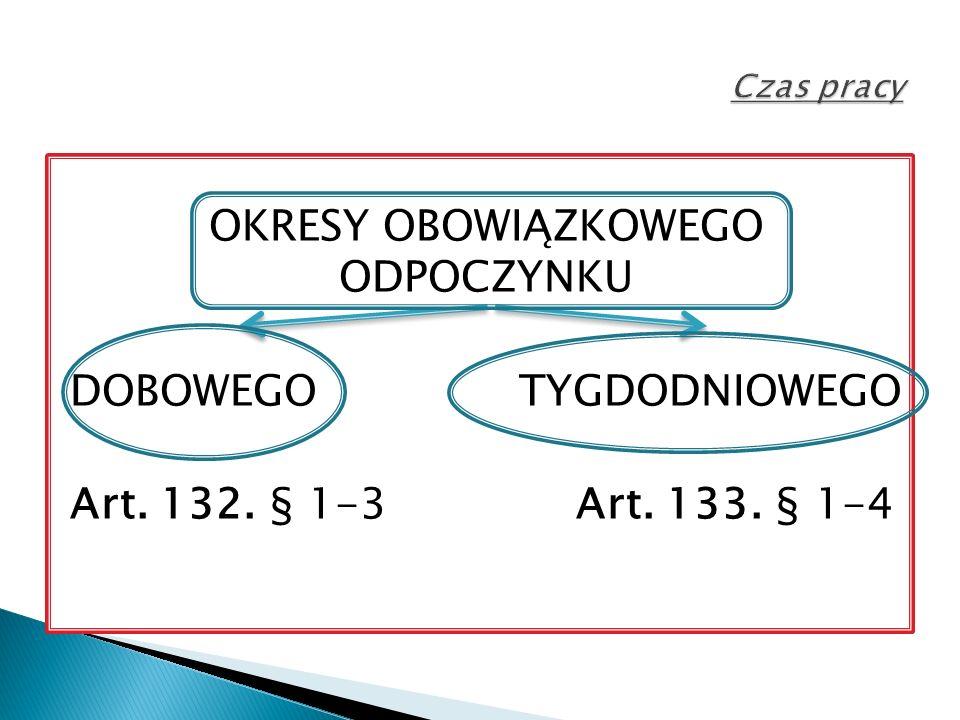 OKRESY OBOWIĄZKOWEGO ODPOCZYNKU DOBOWEGO TYGDODNIOWEGO Art. 132. § 1-3 Art. 133. § 1-4