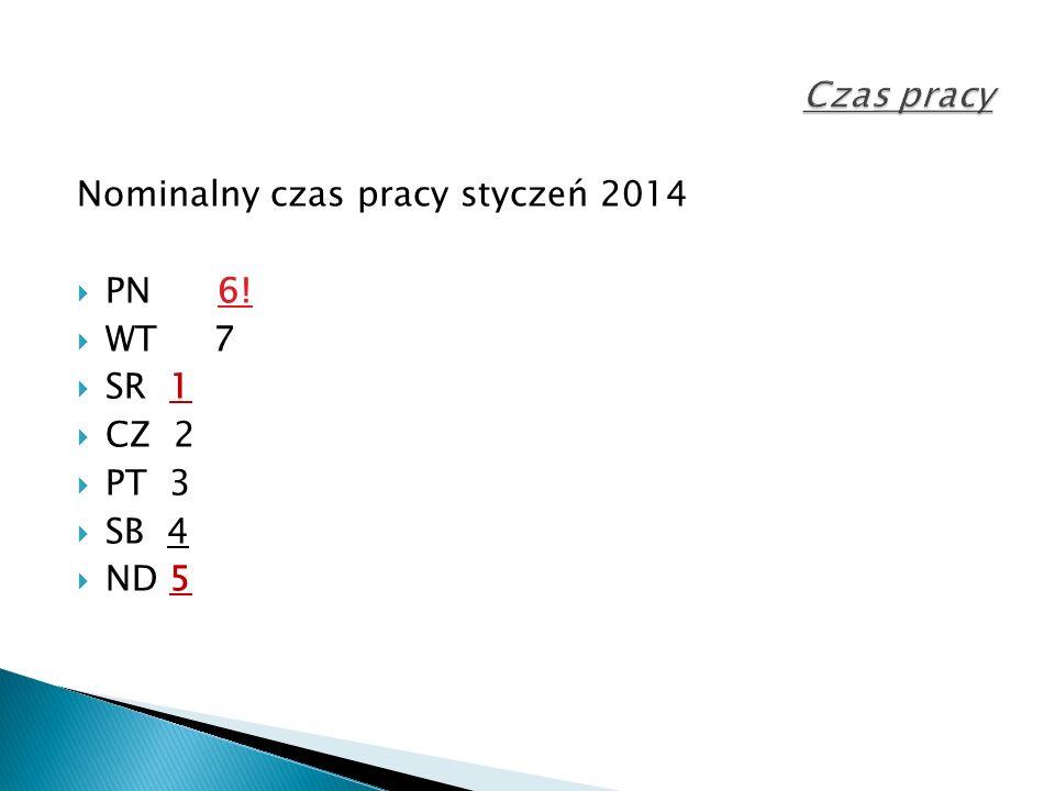 Nominalny czas pracy styczeń 2014  PN 6!  WT 7  SR 1  CZ 2  PT 3  SB 4  ND 5