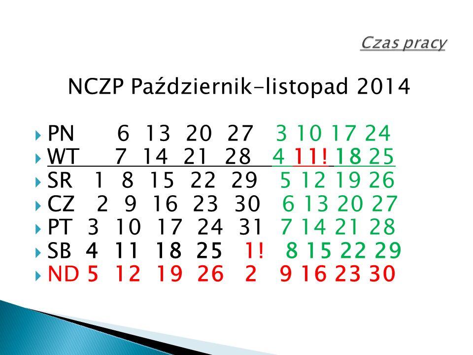 NCZP Październik-listopad 2014  PN 6 13 20 27 3 10 17 24  WT 7 14 21 28 4 11.