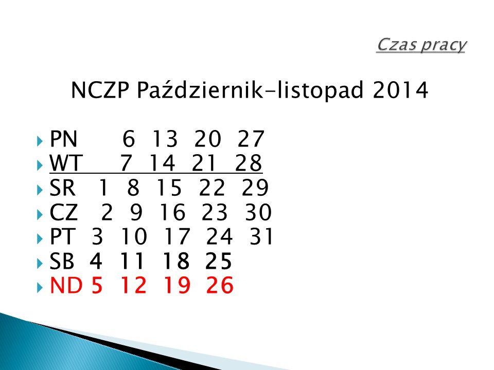 NCZP Październik-listopad 2014  PN 6 13 20 27  WT 7 14 21 28  SR 1 8 15 22 29  CZ 2 9 16 23 30  PT 3 10 17 24 31  SB 4 11 18 25  ND 5 12 19 26