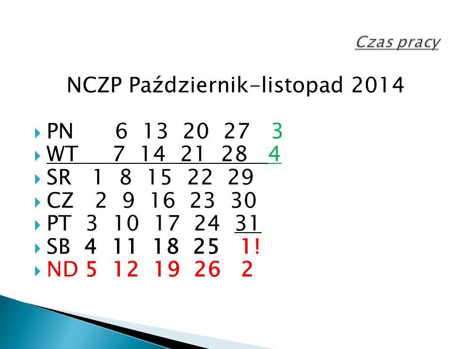 NCZP Październik-listopad 2014  PN 6 13 20 27 3  WT 7 14 21 28 4  SR 1 8 15 22 29  CZ 2 9 16 23 30  PT 3 10 17 24 31  SB 4 11 18 25 1.