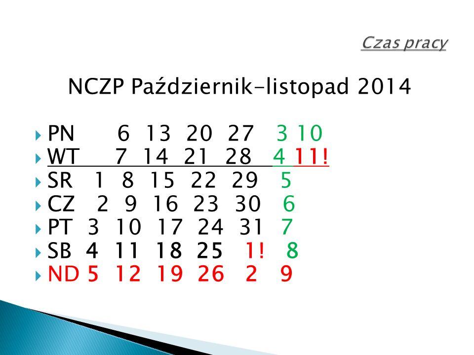 NCZP Październik-listopad 2014  PN 6 13 20 27 3 10  WT 7 14 21 28 4 11.