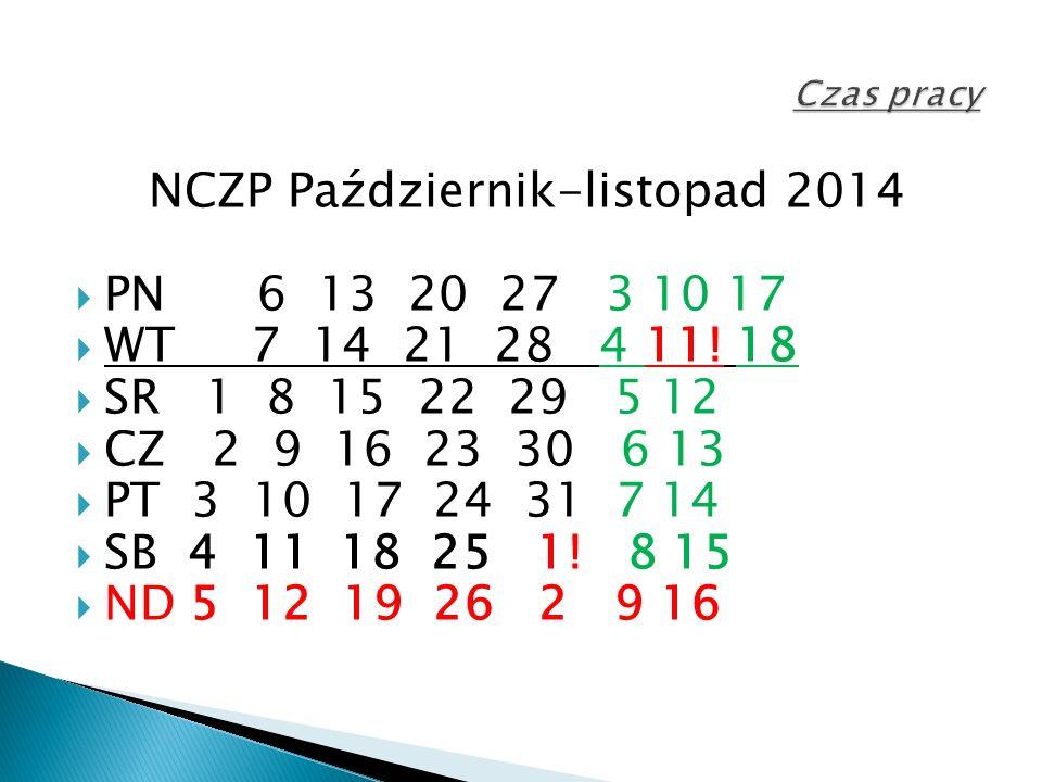 NCZP Październik-listopad 2014  PN 6 13 20 27 3 10 17  WT 7 14 21 28 4 11.