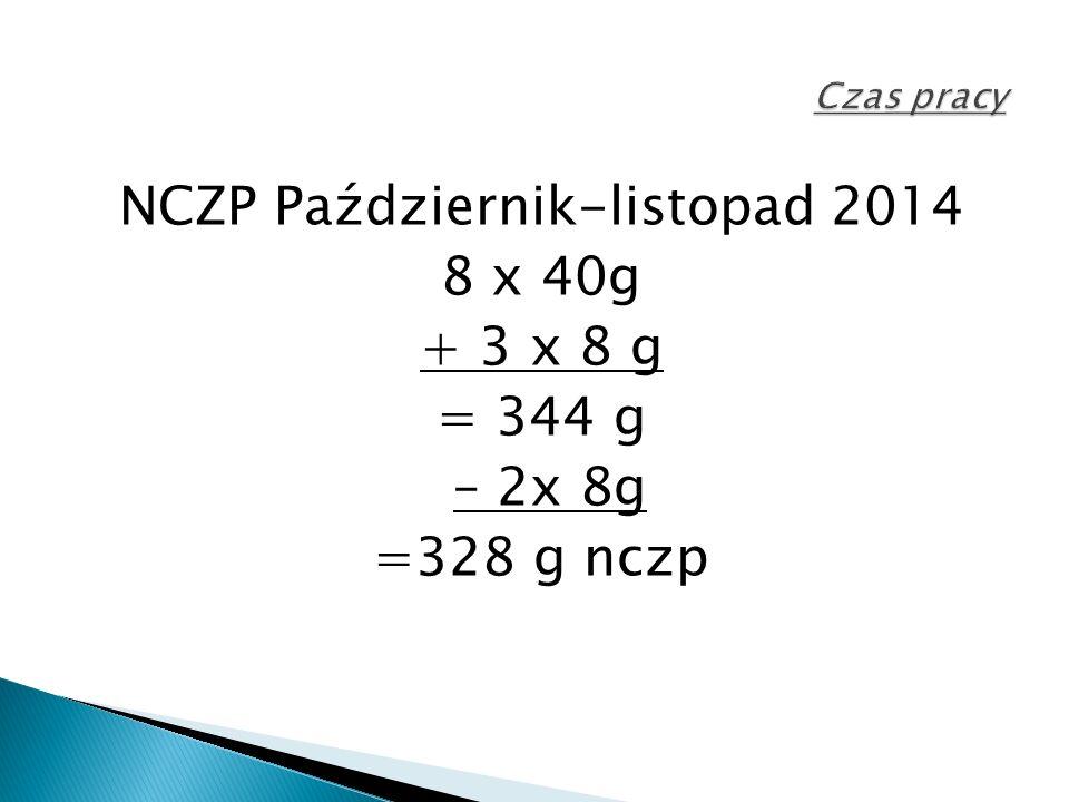 NCZP Październik-listopad 2014 8 x 40g + 3 x 8 g = 344 g – 2x 8g =328 g nczp