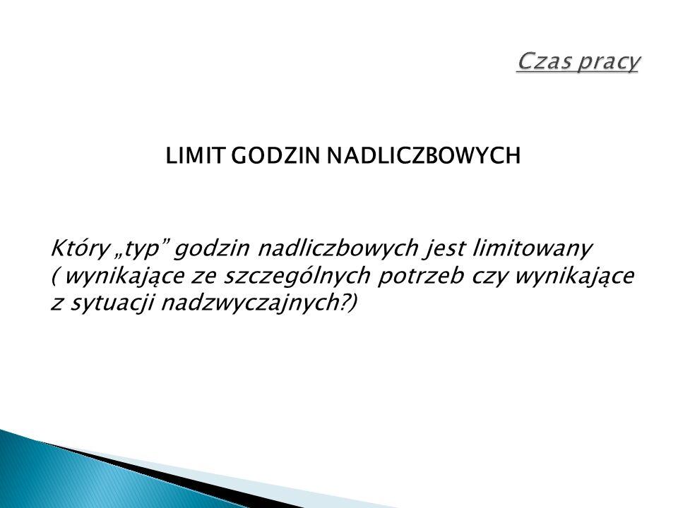 """LIMIT GODZIN NADLICZBOWYCH Który """"typ godzin nadliczbowych jest limitowany ( wynikające ze szczególnych potrzeb czy wynikające z sytuacji nadzwyczajnych )"""