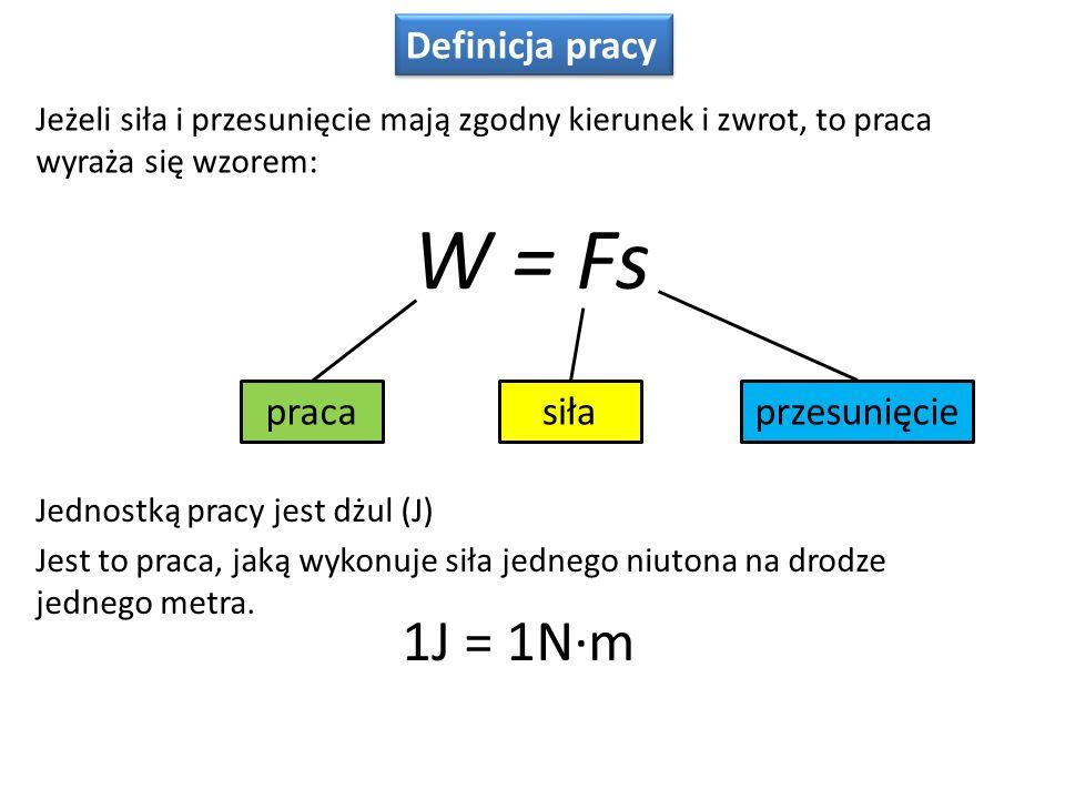 Definicja pracy W = Fs Jeżeli siła i przesunięcie mają zgodny kierunek i zwrot, to praca wyraża się wzorem: pracasiłaprzesunięcie Jednostką pracy jest dżul (J) Jest to praca, jaką wykonuje siła jednego niutona na drodze jednego metra.