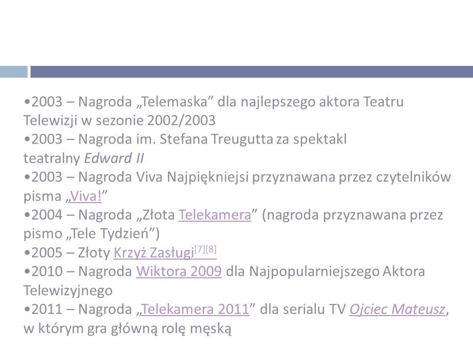 """2003 – Nagroda """"Telemaska"""" dla najlepszego aktora Teatru Telewizji w sezonie 2002/2003 2003 – Nagroda im. Stefana Treugutta za spektakl teatralny Edwa"""