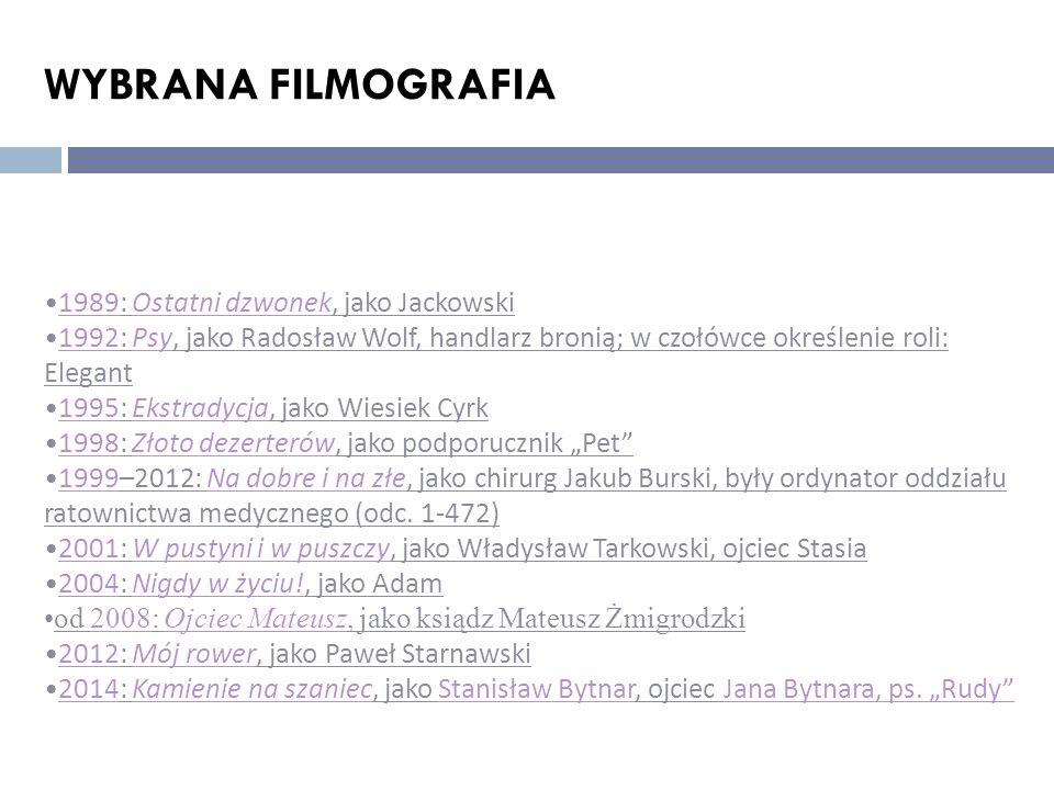 WYBRANA FILMOGRAFIA 1989: Ostatni dzwonek, jako Jackowski1989Ostatni dzwonek 1992: Psy, jako Radosław Wolf, handlarz bronią; w czołówce określenie rol
