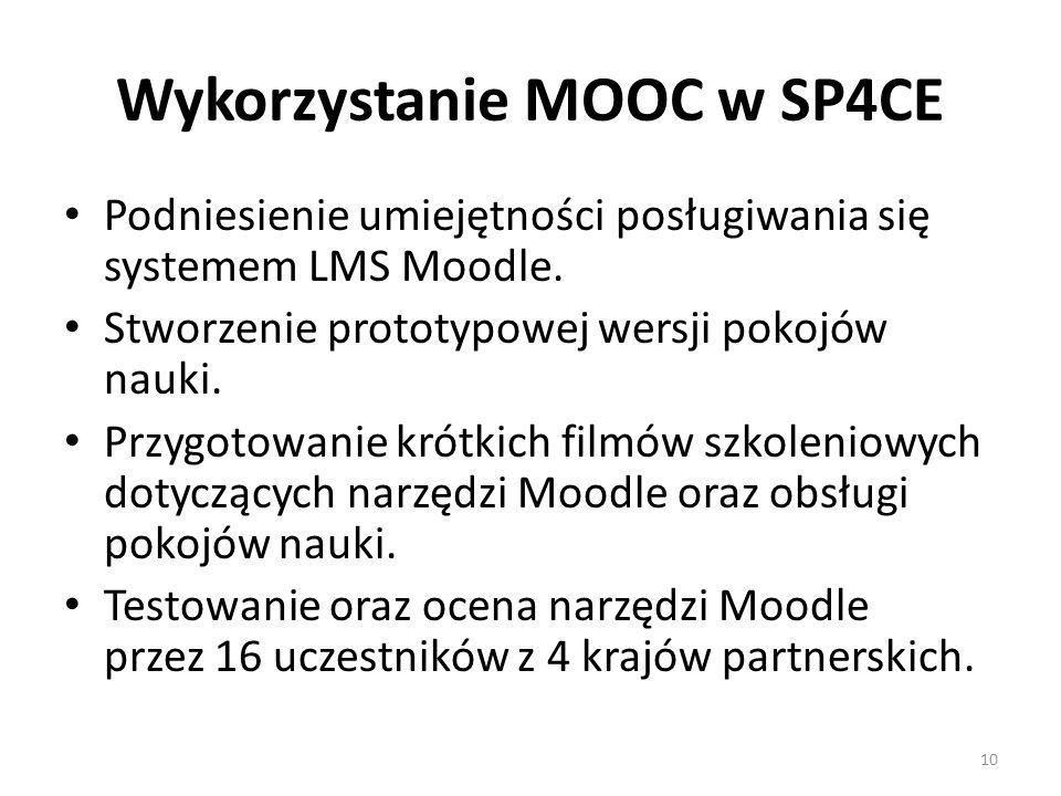 Wykorzystanie MOOC w SP4CE Podniesienie umiejętności posługiwania się systemem LMS Moodle.