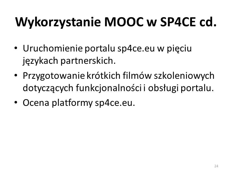 Wykorzystanie MOOC w SP4CE cd. Uruchomienie portalu sp4ce.eu w pięciu językach partnerskich.
