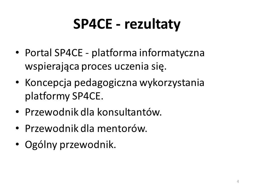 SP4CE - rezultaty Portal SP4CE - platforma informatyczna wspierająca proces uczenia się.