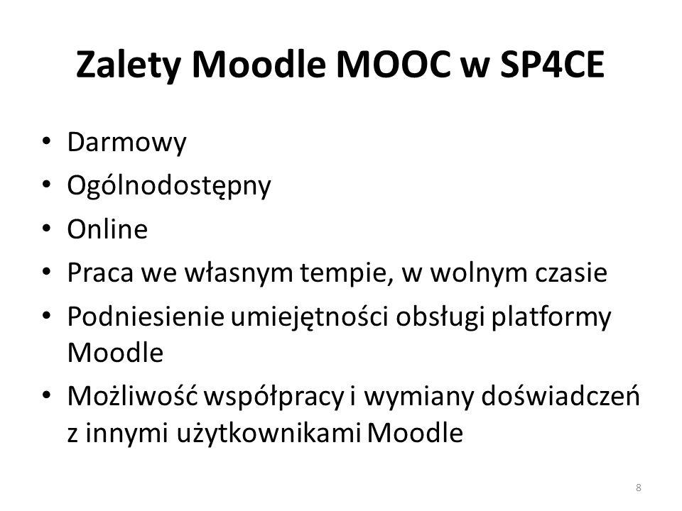 Zalety Moodle MOOC w SP4CE Darmowy Ogólnodostępny Online Praca we własnym tempie, w wolnym czasie Podniesienie umiejętności obsługi platformy Moodle Możliwość współpracy i wymiany doświadczeń z innymi użytkownikami Moodle 8