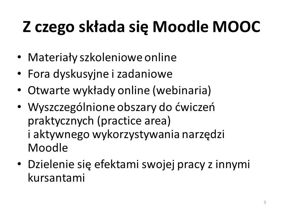 Z czego składa się Moodle MOOC Materiały szkoleniowe online Fora dyskusyjne i zadaniowe Otwarte wykłady online (webinaria) Wyszczególnione obszary do ćwiczeń praktycznych (practice area) i aktywnego wykorzystywania narzędzi Moodle Dzielenie się efektami swojej pracy z innymi kursantami 9