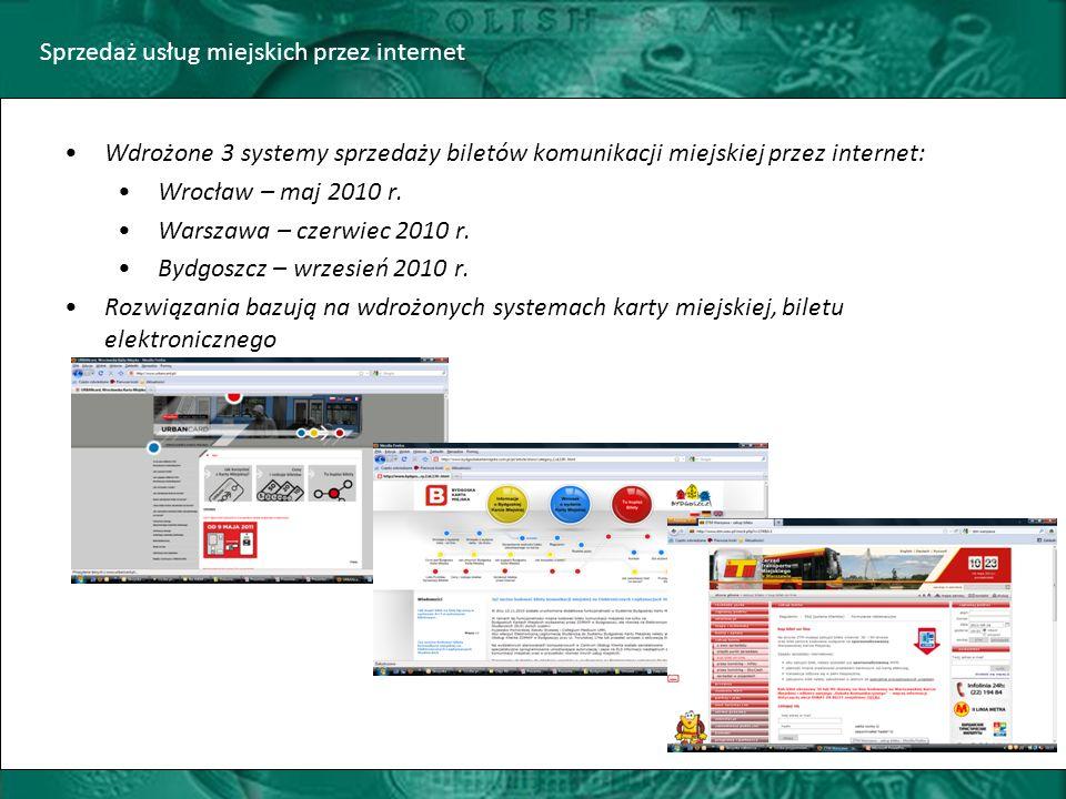 Sprzedaż usług miejskich przez internet Wdrożone 3 systemy sprzedaży biletów komunikacji miejskiej przez internet: Wrocław – maj 2010 r.