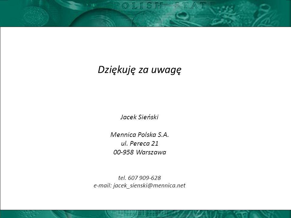 Dziękuję za uwagę Jacek Sieński Mennica Polska S.A.