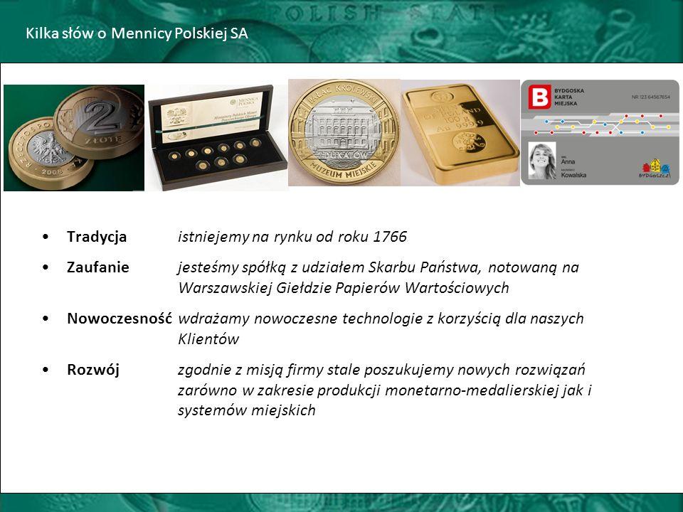 Kilka słów o Mennicy Polskiej SA Tradycja istniejemy na rynku od roku 1766 Zaufaniejesteśmy spółką z udziałem Skarbu Państwa, notowaną na Warszawskiej Giełdzie Papierów Wartościowych Nowoczesność wdrażamy nowoczesne technologie z korzyścią dla naszych Klientów Rozwój zgodnie z misją firmy stale poszukujemy nowych rozwiązań zarówno w zakresie produkcji monetarno-medalierskiej jak i systemów miejskich