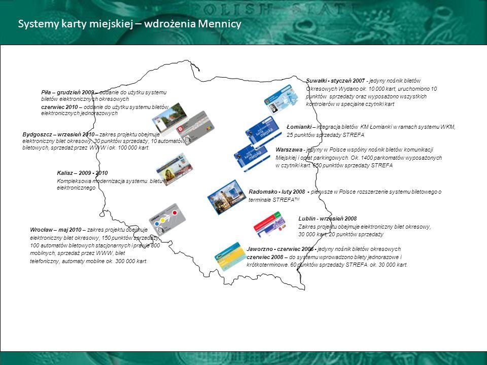 Systemy karty miejskiej – wdrożenia Mennicy Jaworzno - czerwiec 2006 - jedyny nośnik biletów okresowych czerwiec 2008 – do systemu wprowadzono bilety jednorazowe i krótkoterminowe.