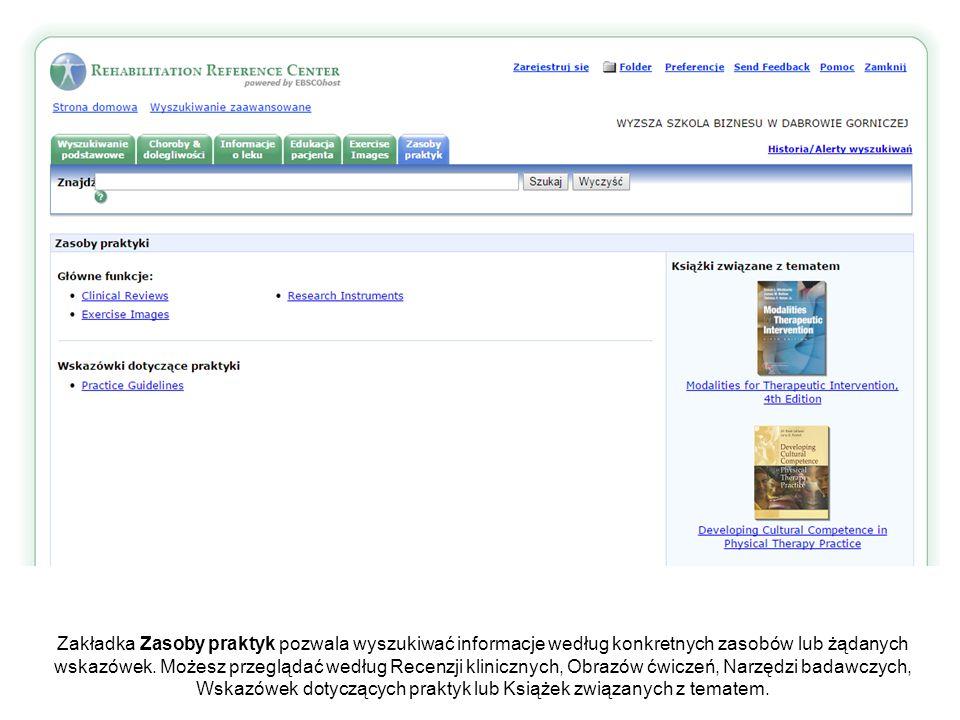 Zakładka Zasoby praktyk pozwala wyszukiwać informacje według konkretnych zasobów lub żądanych wskazówek.