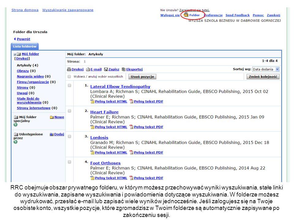 RRC obejmuje obszar prywatnego folderu, w którym możesz przechowywać wyniki wyszukiwania, stałe linki do wyszukiwania, zapisane wyszukiwania i powiadomienia dotyczące wyszukiwania.