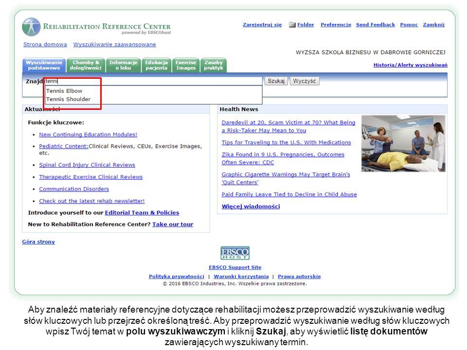 Pozycje listy wyników są prezentowane w poszczególnych zakładkach, posortowanych według typu źródła.