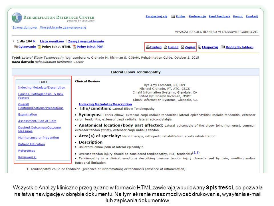 Wszystkie Analizy kliniczne przeglądane w formacie HTML zawierają wbudowany Spis treści, co pozwala na łatwą nawigację w obrębie dokumentu.