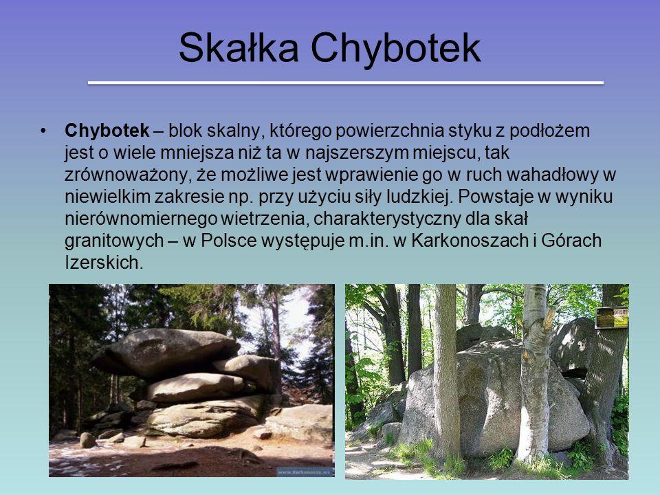 Skałka Chybotek Chybotek – blok skalny, którego powierzchnia styku z podłożem jest o wiele mniejsza niż ta w najszerszym miejscu, tak zrównoważony, że