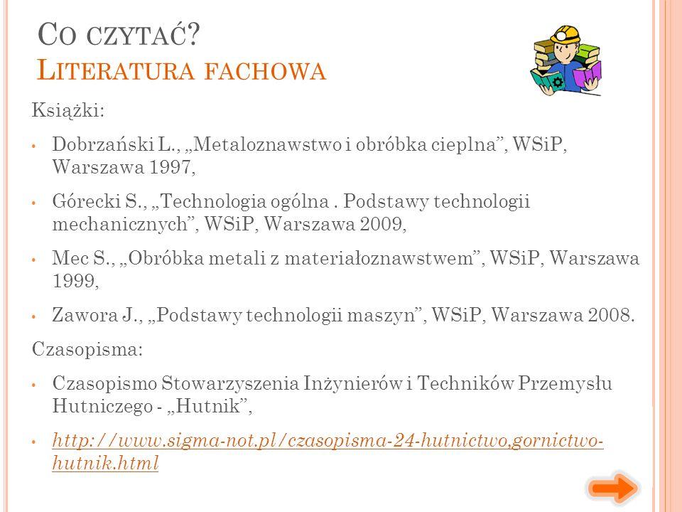 """Książki: Dobrzański L., """"Metaloznawstwo i obróbka cieplna , WSiP, Warszawa 1997, Górecki S., """"Technologia ogólna."""
