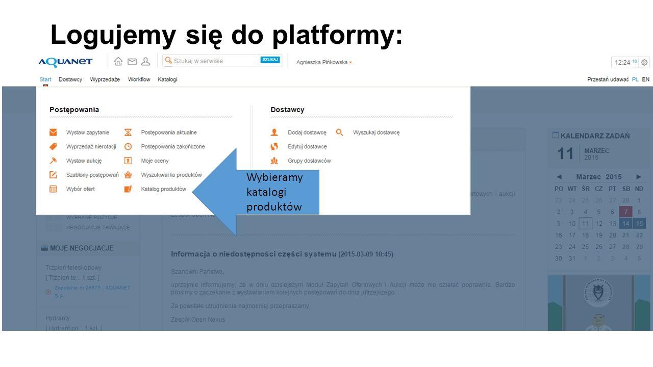 Logujemy się do platformy: Wybieramy katalogi produktów